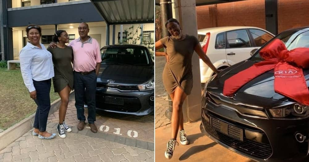 Young lady thanks parents for buying her a car, shares photos online