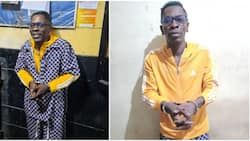 Shatta Wale arrested, full of smiles as he is handcuffed by police