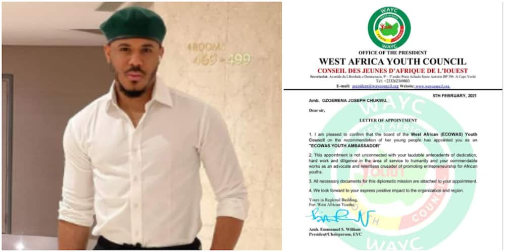 Fans react as BBNaija's Ozo becomes ECOWAS youth ambassador, flaunts appointment letter