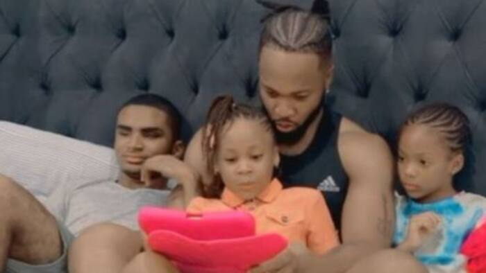 Igbo Amaka: Singer Flavour teaches his children their native language in adorable video, fans react