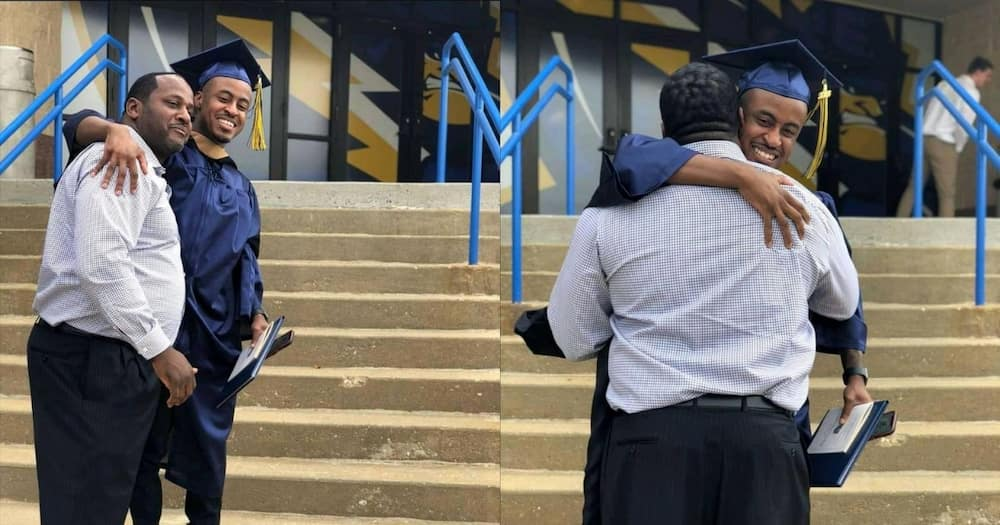 Young graduate thanks dad for raising him
