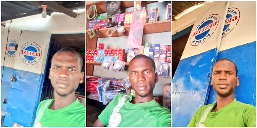 Young Man Opens Spare Parts Business, Takes Selfie with His Shop, Nigerians React