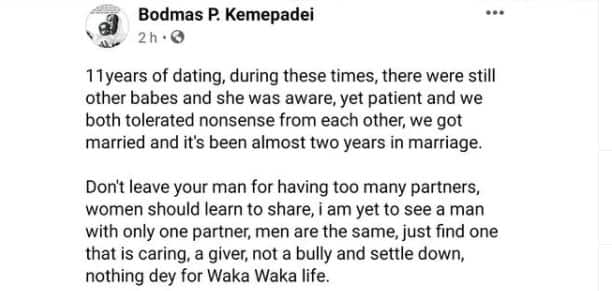 11 Years Dating, There Were Other Babes and She Knew: Man Praises Wife for Being Patient