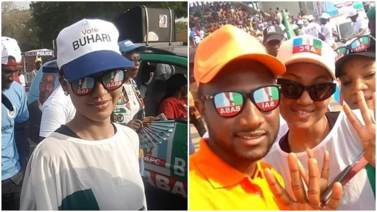 Viral photos of Zahra and Yusuf Buhari campaigning for their dad in Abuja