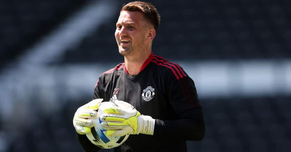 Tom Heaton of Manchester United during the pre-season friendly between Derby County and Manchester United at Pride Park on July 18, 2021 in Derby, England. (Photo by Marc Atkins/Getty Images)