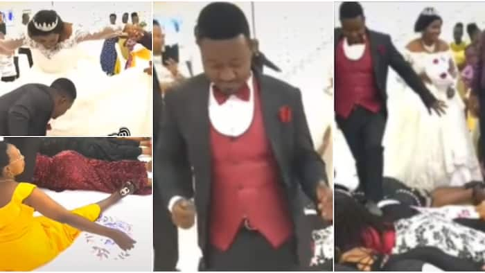 Single women don suffer: Massive reactions as couple walks on ladies lying on the floor in viral video