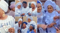 Sikirat Sindodo, friends stylishly step out in white and blue outfits for actress' mum's firdaus prayer