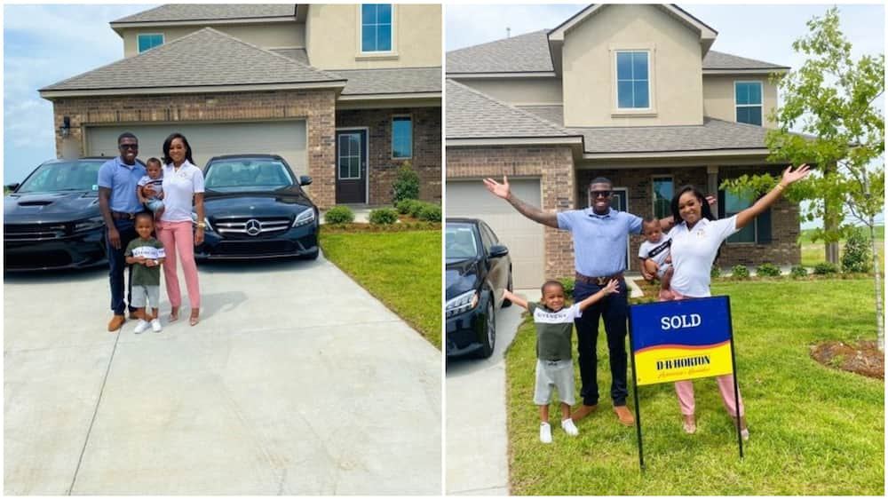 A collage showing the family in front of the new house. Photo source: Twitter/B Williams