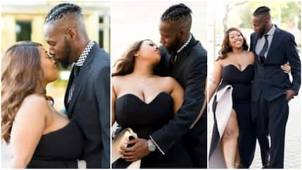 Lady flaunts massive cleavage in stunning pre-wedding photos with her husband-to-be