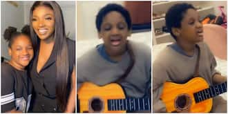 Little superstar: Annie Idibia shares cute video of daughter passionately singing and playing guitar