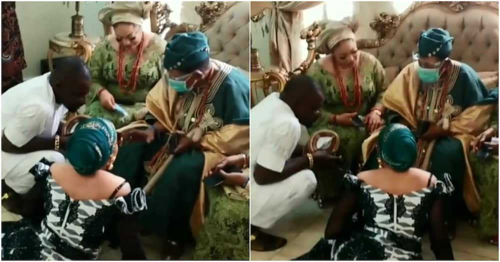 Alaafin of Oyo visits newly wedded actress Lizzy Anjorin (video)