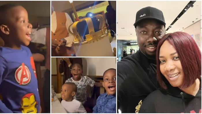 Obi Cubana's son, friends scream out of excitement as he gets huge cake at 6th birthday party