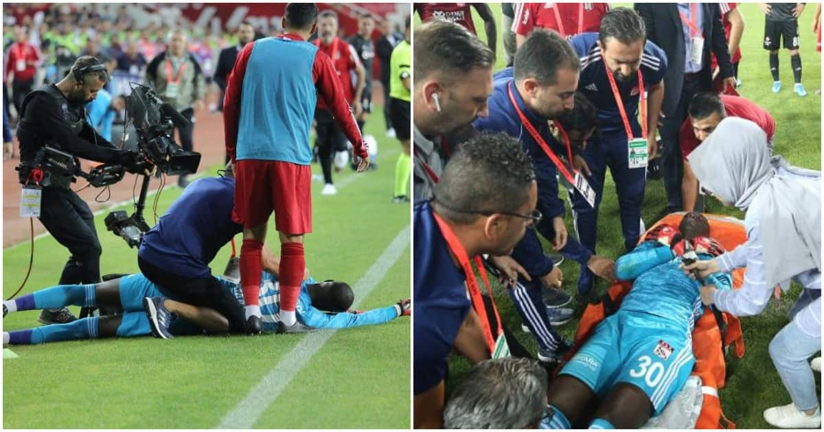 Suspense as goalkeeper collapses on his debut for top European elite team (video)