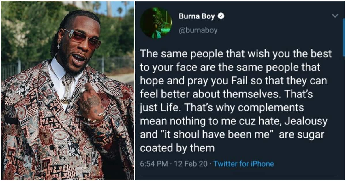 Burna Boy speaks on fake love in industry, says they want him to fail