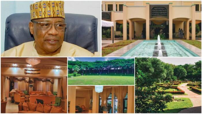 Aljannar duniya: Hotunan cikin katafaren gidan Ibrahim Babangida, kujerun ciki kamar zinare