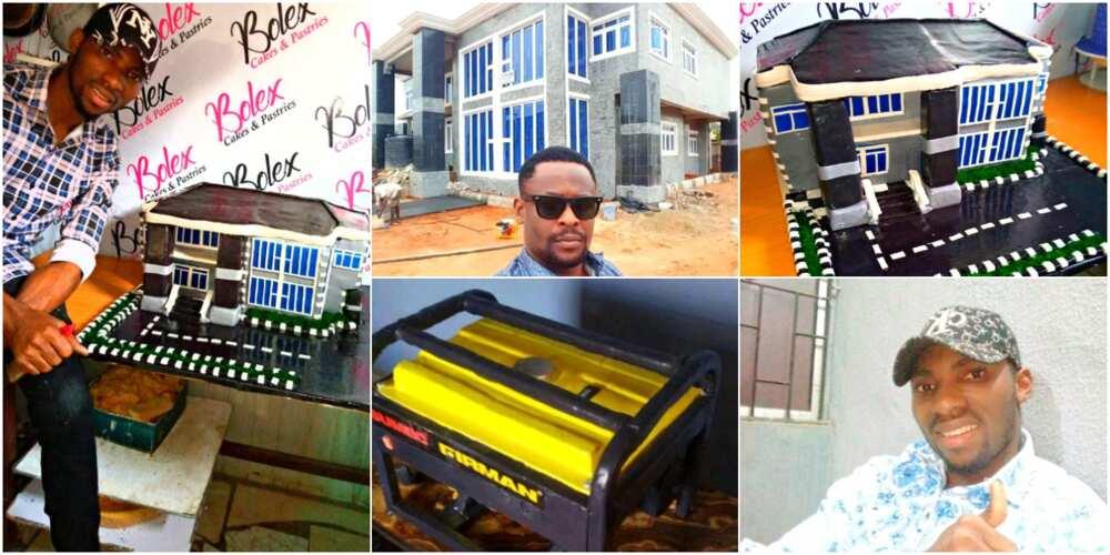 Prince Obua: Young Nigerian baker recreates actor's house using flour, bakes generator cake