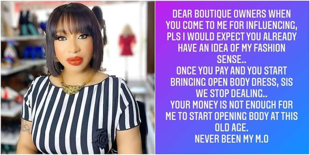 Tonto Dikeh calls out vendors who send her revealing clothes to wear, says she is too old for that