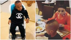 Uncle Bob! Bobrisky spotted having dinner with Tonto Dikeh's son (photo)