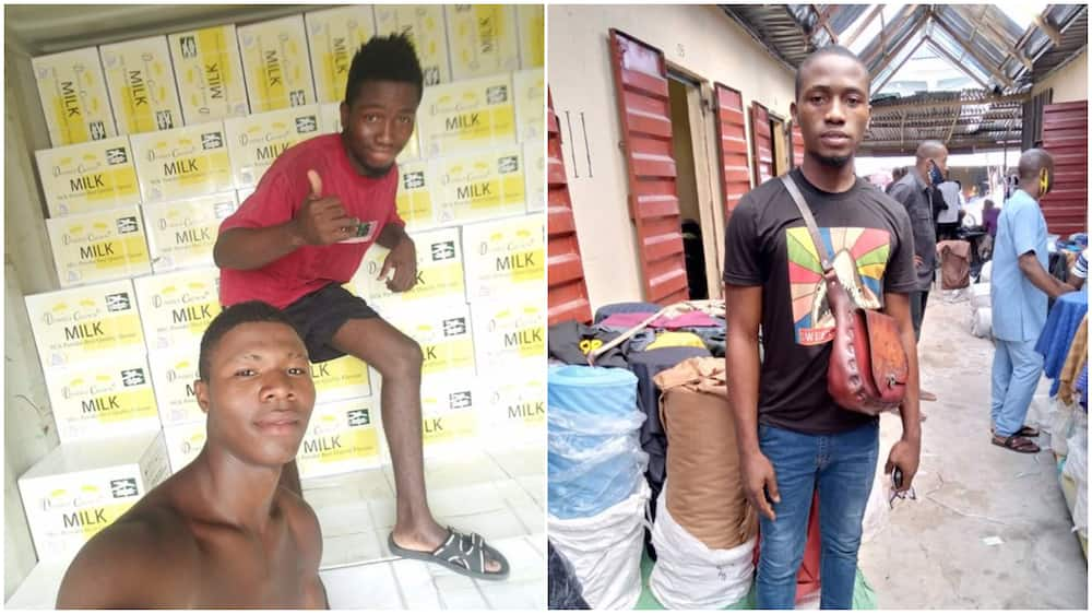 Young Nigerian man who helps people to carry loads in market finally opens cloth shop