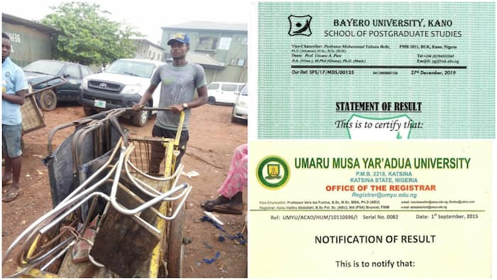 Yazid Surajo: Meet young Nigerian with Master's degree who is now a scavenger, photos of his results stir reactions
