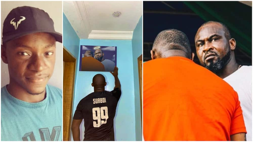 Nigerian man makes large frame of Davido and late bodyguard, says it's a gift