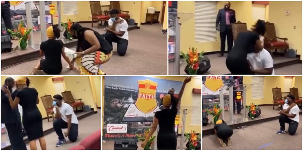 Lady goes wild in church as man proposes while pastor prayed for her, video goes viral