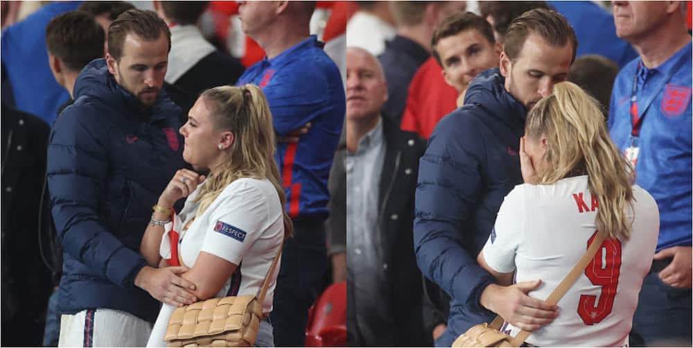 England star consoles sobbing wife in crowd after England's painful loss to Italy