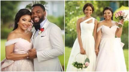 Adesua Etomi defends her bestie Ihuoma Ejiofor over wearing a pink wedding dress