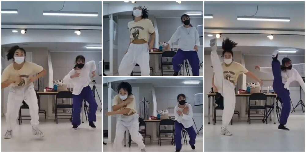 Pretty Korean ladies do quick leg movements as they dance legwork in thrilling video