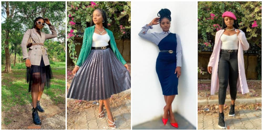 Photos of Obianuju Rosemary Obi in different thrift wears.
