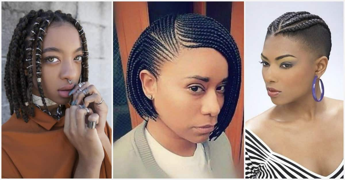 Short bob braids with shaved sides , great option for your