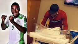 Ex-Super Eagles striker shares adorable photo as he welcomes second child