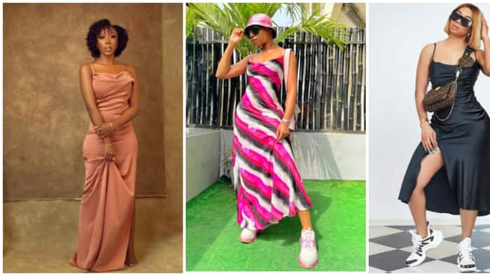 Slip dress, a wardrobe staple: 7 Nigerian celebrities who have pulled off the trend effortlessly