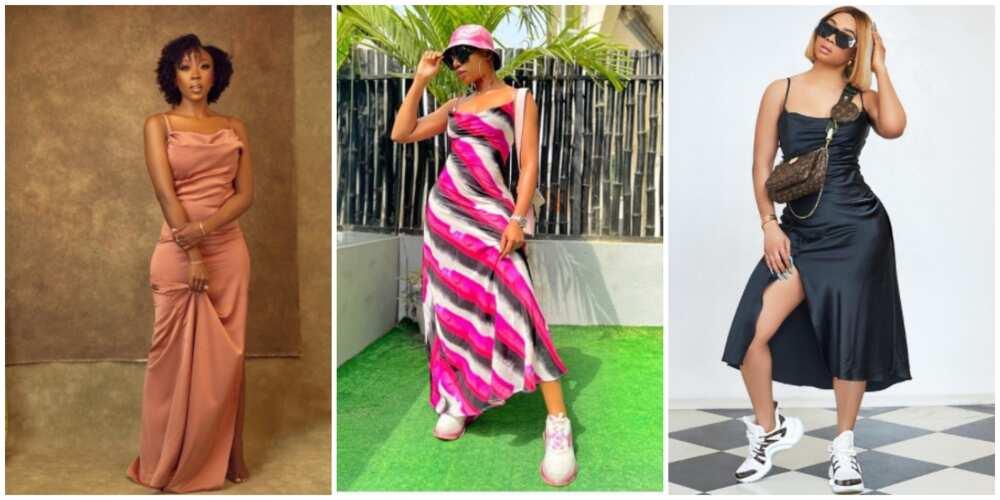 Celebrities in slip dresses.