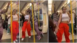 Davido spotted dancing with unknown lady on London train in viral video, fans react