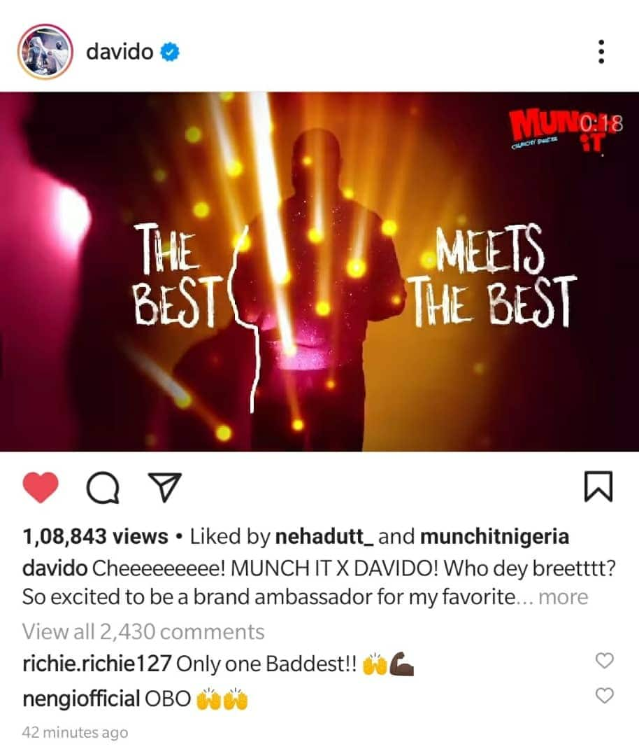 Davido Unveiled As the Brand Ambassador for Munch It Snack