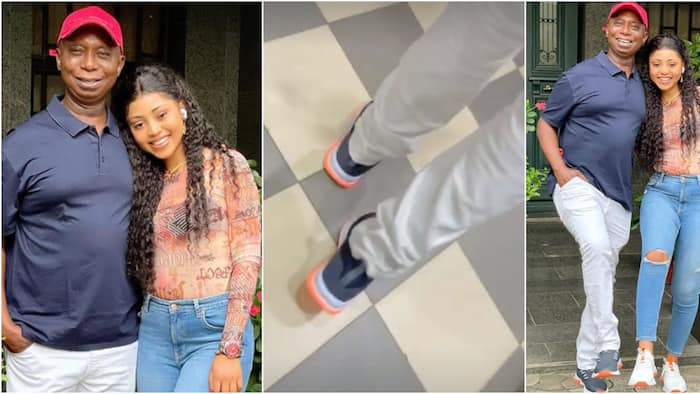 I'm obsessed with my hubby's legs: Regina Daniels and billionaire step out in matching sneakers made by her