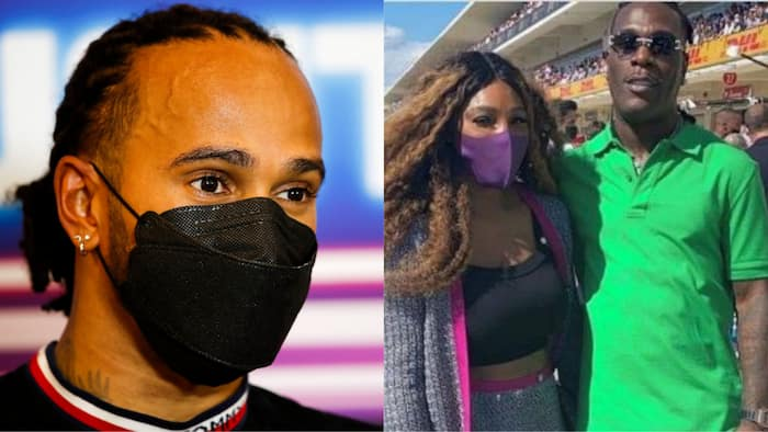 Burna Boy storms Formular 1 US Grand Prix to support Lewis Hamilton as he's spotted with Serena Williams