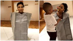 Actress Tonto Dikeh shares stunning photos of her in a ghana-must-go sack