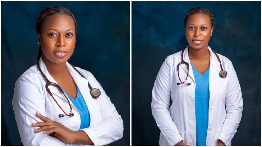 The lady posed confidently in her medical uniform. Photo source: LinkedIn/Oluwaseun Alakija