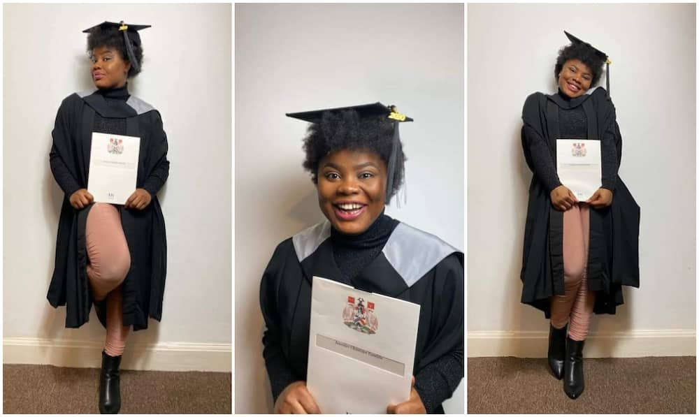 Nigeria lady Jennifer Chinenye Emelife celebrates graduating with a distinction from top UK varsity