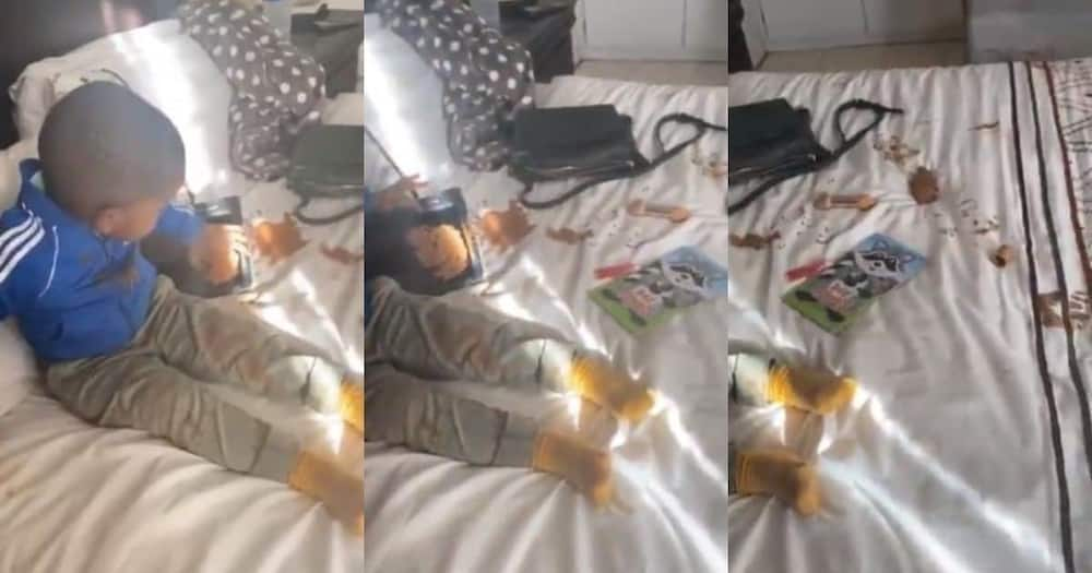 Mom shares video of bundle of joy making mess with foundation SA reacts