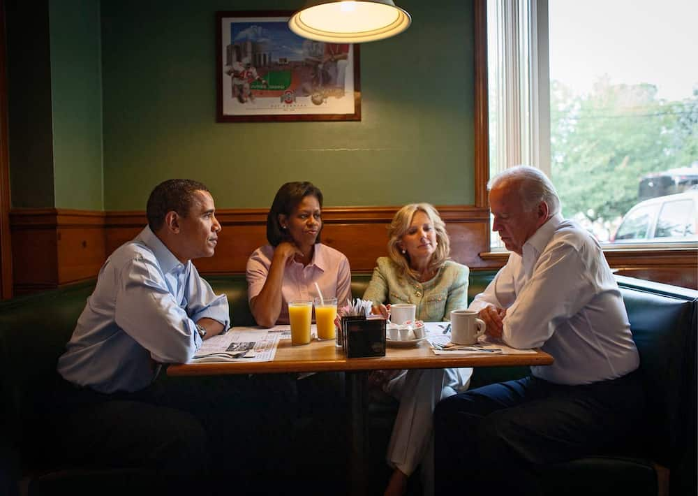 The Obamas share breakfast with the vice-president, Joe Biden, and his wife