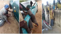Photos of a primary school girl fixing cars spark reactions, Nigerians wonder how she does it despite her age
