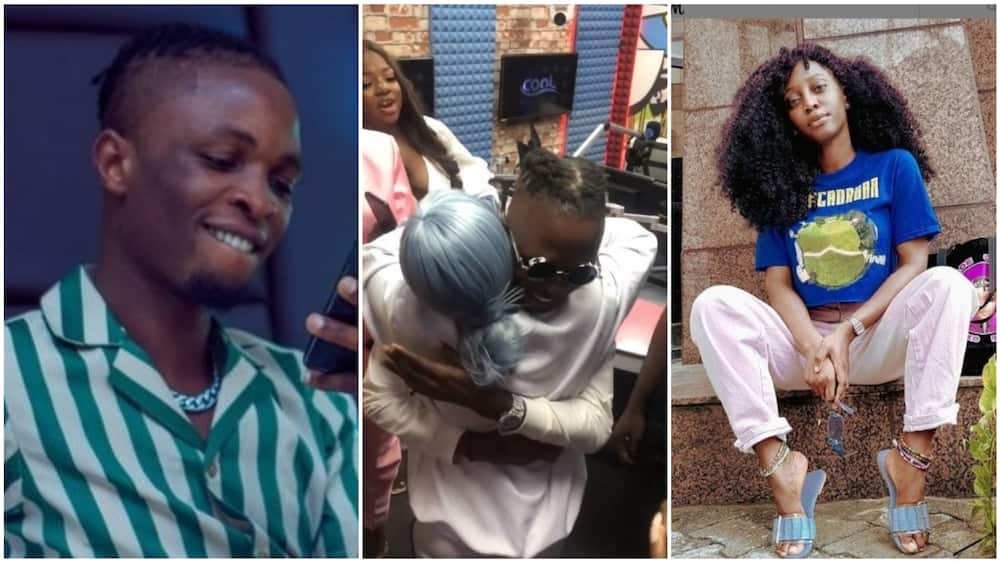 A collage showing Laycon, the OAP and the moment they hugged. Photos sources: Instagram/Cool FM/Oluwakemi/BBC