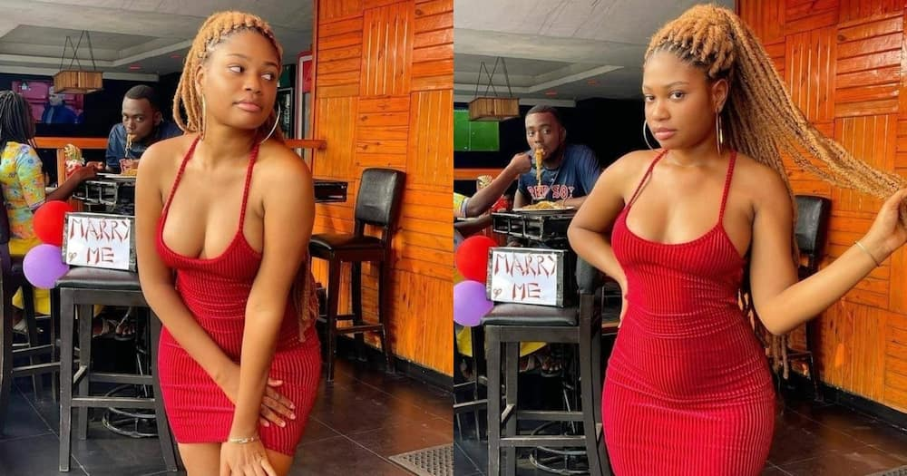 Man caught on camera eyeing another beautiful lady whilst his lover was feeding him