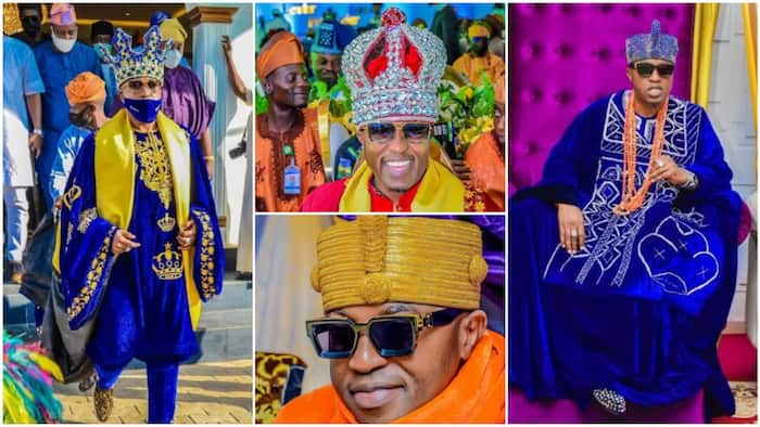 Culture with swags: 5 times Oluwo of Iwo gave royal goals with colourful eye-catching crowns in photos