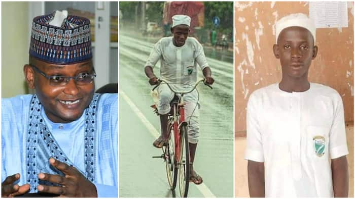 Luck smiles on young boy who went viral for riding bicycle to school under the rain, he gets N100k