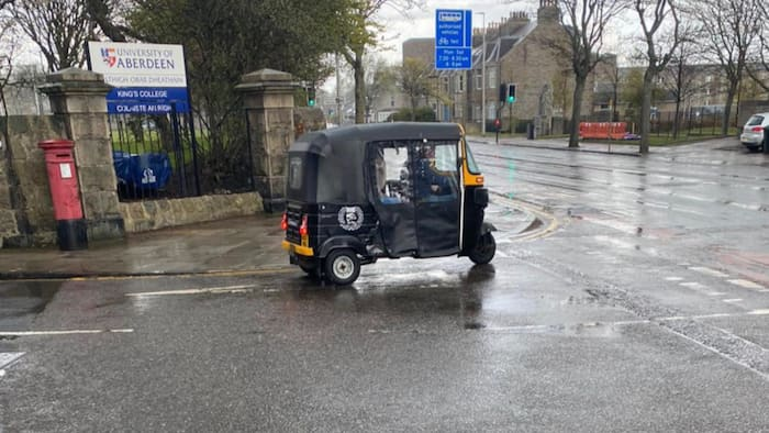 They have brought Keke Marwa here: Reactions as Nigeria's famous tricycle is seen on Scotland street