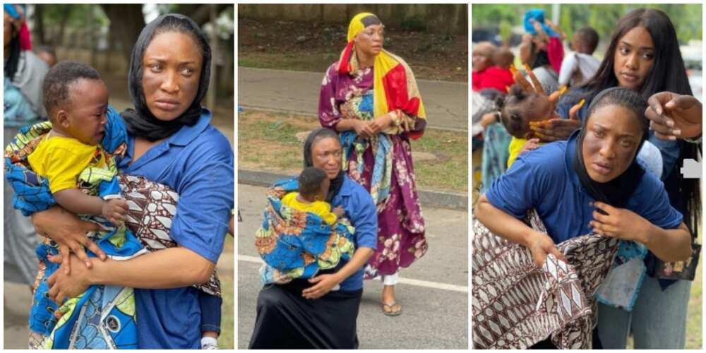 Photos of Tonto Dikeh on set.